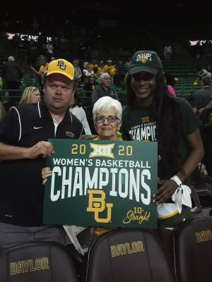 Michael Magouirk and Mrs. Lynn Zander took a picture with Lady Bear Erin Degrate to celebrate with the Big 12 Champion Baylor Lady Bears after the game on Saturday. The Lady Bears won over Kansas State.