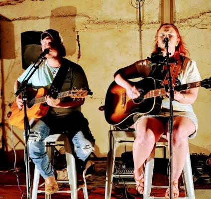 Curt Jones and Hannah Prestridge, better known as country music duo, Treble Soul, rocked the Bucksnort Saloon. Photo submitted by Melissa Mahoney