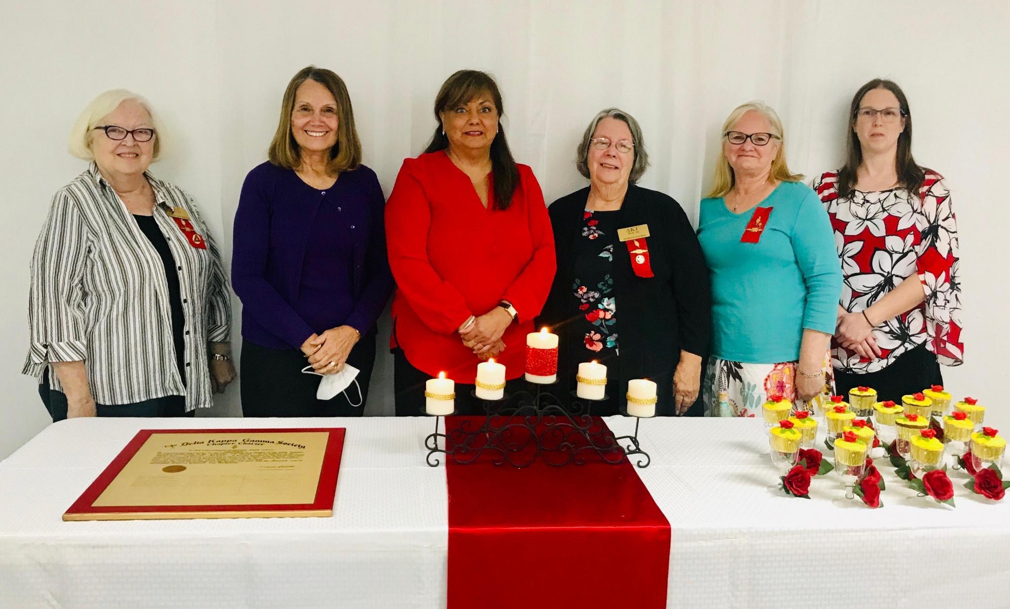 DKG Society International Beta Nu Chapter(L-R) Phyllis Macmillan, Dr. Marlene Zipperlen, Letitia Estep, Shirley Wilson, Sheila Lawson, Misty Ehlers