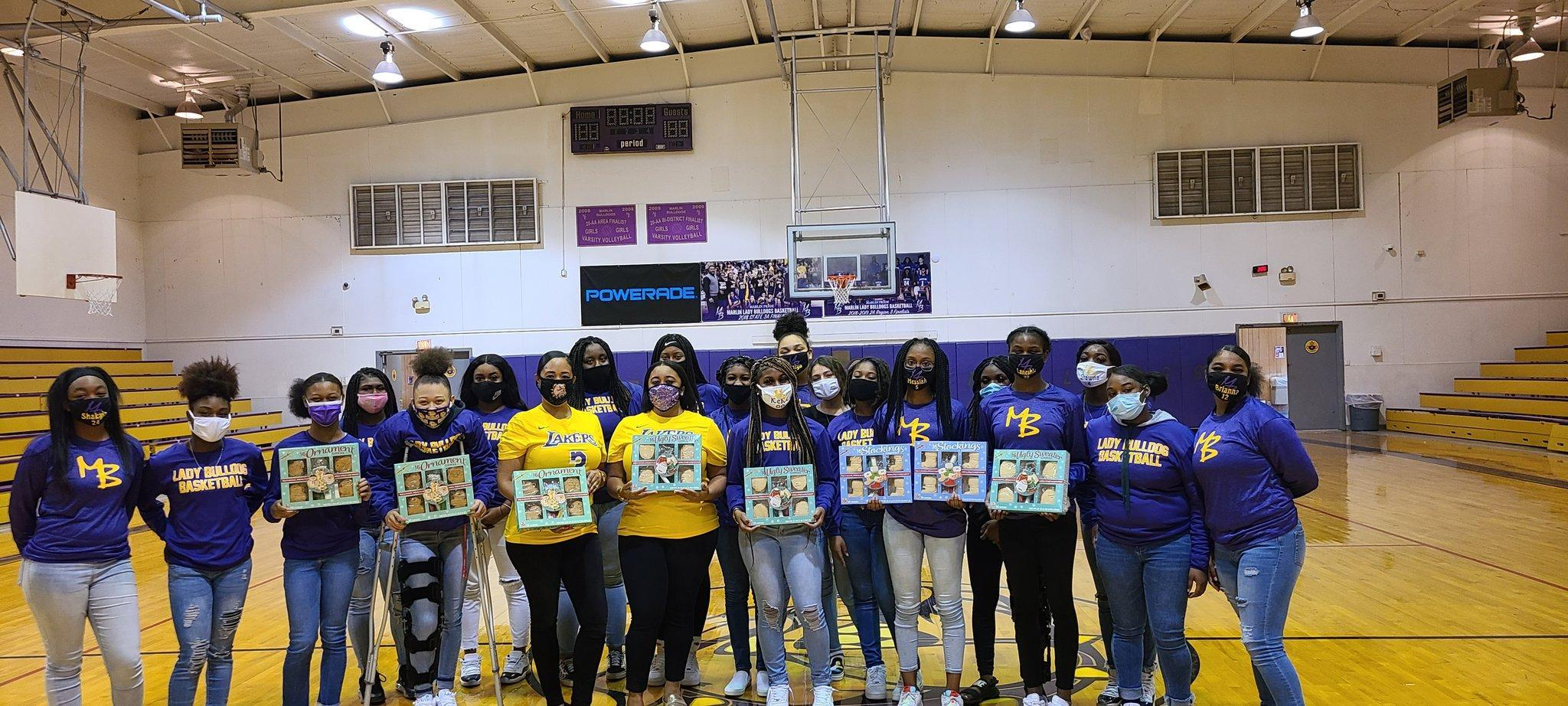The Marlin Girls Varsity Basketball team donated cookies to Marlin Elementary School on Tuesday, December 18. The Lady Bulldogs will be back on the court in Marlin on Dec. 29, where they will take on the Connally Cadets.